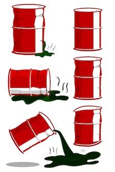Einfacher vektor 6 verschiedene zustand grüne giftige flüssigkeit rotes fass isoliert auf weiss