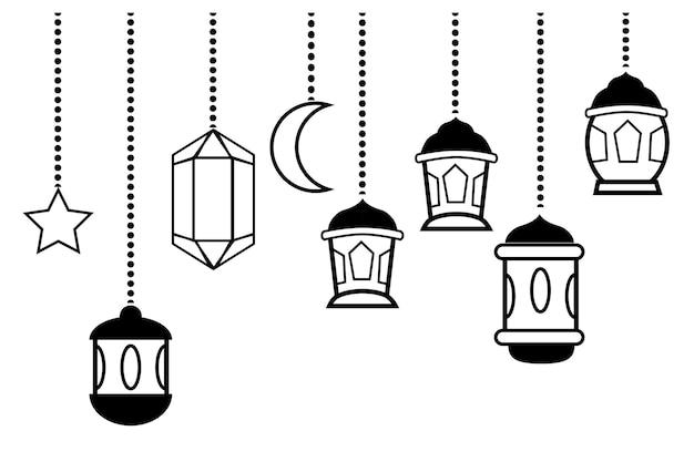 Einfacher vektor, icon style 6 laternenstern und mond, element design oder vorlage für ramadan kareem grußkarte, banner, flyer und poster