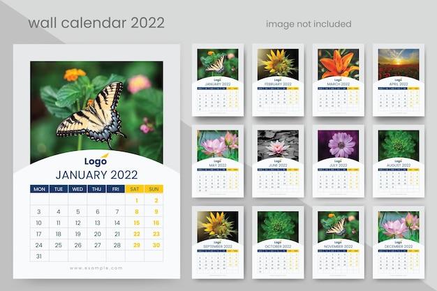 Einfacher wandkalender 2022 premium-vektor