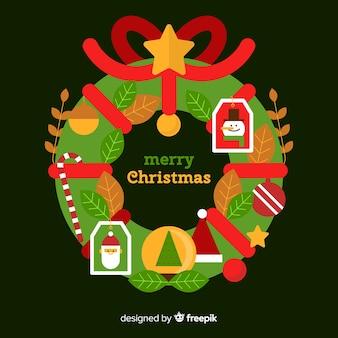 Einfacher weihnachtskranzhintergrund