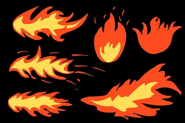 Einfaches 6-stil-vektor-feuer- oder brennbares zeichen auf schwarzem hintergrund