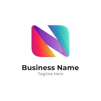 Einfaches anfangsbuchstabe n-logo mit buntem farbverlauf