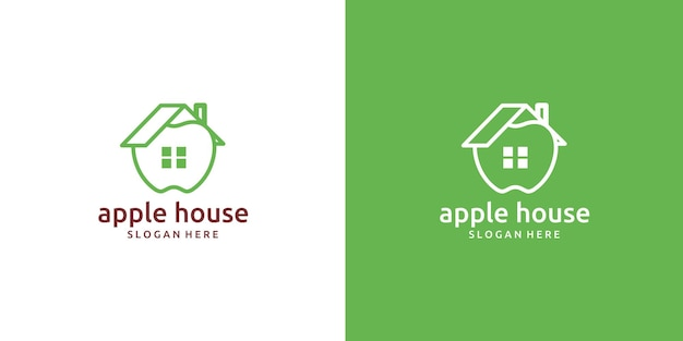 Einfaches apple home fruit logo-design