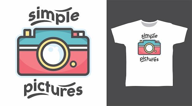 Einfaches bild des kamera-t-shirt-designs