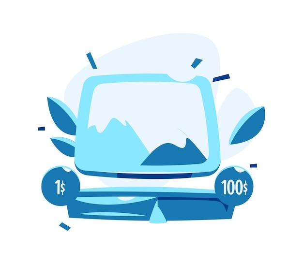 Einfaches bildsymbol in einem rahmen, fernseher oder computerbildschirm mit dem einfachsten bild