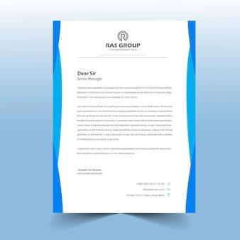 Einfaches blaues briefkopf-design