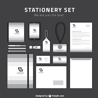 Einfaches briefpapier-sets in grauen und weißen farben
