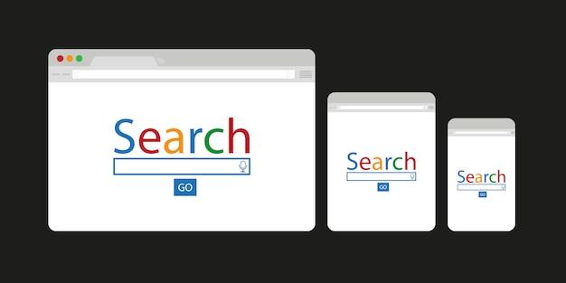 Einfaches browserfenster für computer, tablet und handy