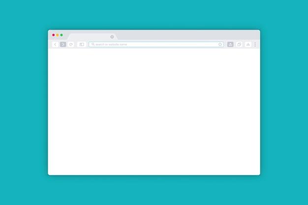 Einfaches browserfenster. schnittstelle webbrowser. bildschirmmodell für webvorlagenfenster. leere internetseite für das web. flache design-internetbrowser-vorlage