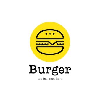 Einfaches burger-logo mit linienstil-symbol