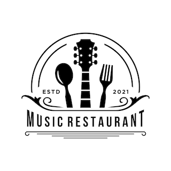 Einfaches design restaurant musik logo vorlage vektor