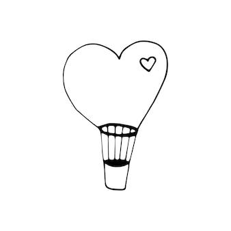 Einfaches doodle-vektor-luftballonherz für valentinstagskarten, poster, verpackung und design. handgezeichnetes herz, isoliert auf weißem hintergrund. geometrische form, symbol valentinstag illustration.