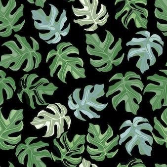 Einfaches florales nahtloses gekritzelmuster mit monstera-verzierung.