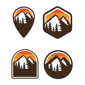 Einfaches gebirgsausweis-logo im freien