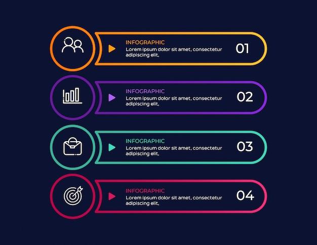 Einfaches geschäft infographic mit 4 schritten