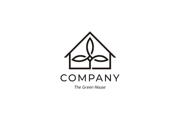 Einfaches green house logo design