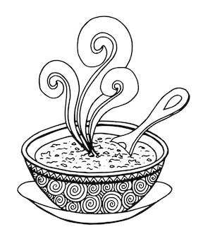 Einfaches hand gezeichnetes gekritzel einer schüssel suppe