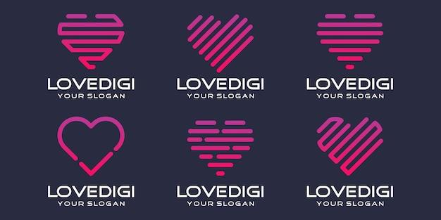 Einfaches herz-icon-set, herz kombiniertes element digital oder daten. logo-design-vorlage