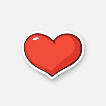 Einfaches herz-valentinstag-symbol ich liebe dich cartoon-aufkleber im comic-stil vektor-illustration
