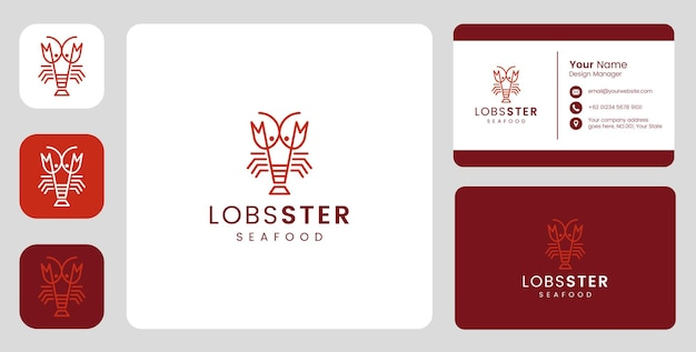 Einfaches hummerfisch-logo mit stationärer vorlage