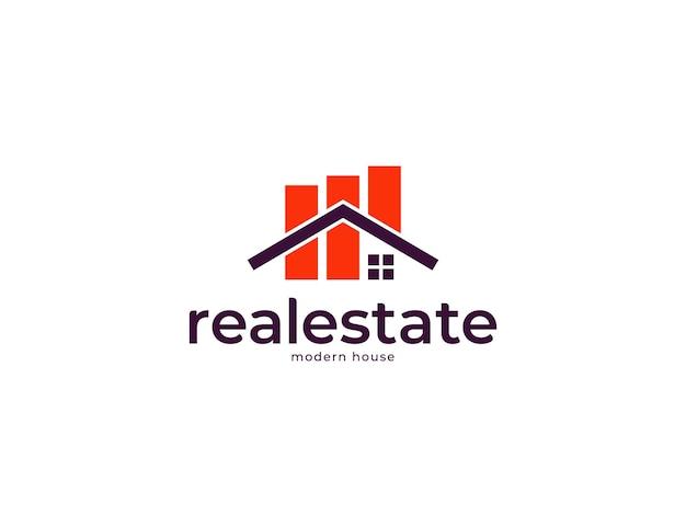 Einfaches immobilien-logo-design mit hausdachkonzept