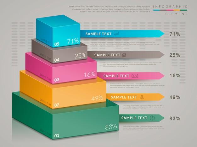 Einfaches infografik-schablonendesign mit isometrischem 3d-diagramm Premium Vektoren