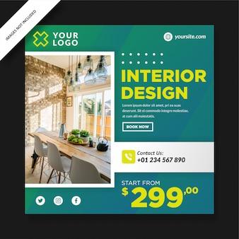 Einfaches interior design banner für social media post