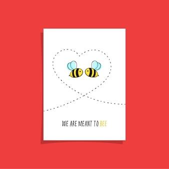 Einfaches kartendesign mit zwei bienen im himmel, die herz zeichnen. nette illustration mit niedlichen bienen.