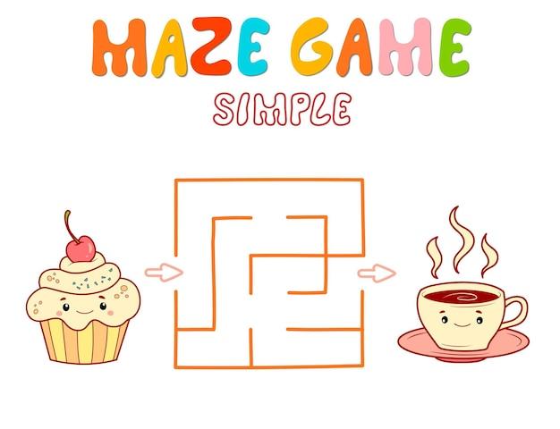 Einfaches labyrinth-puzzle-spiel für kinder. färben sie einfaches labyrinth- oder labyrinthspiel mit kuchen und tee.