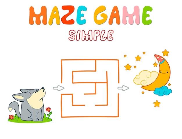 Einfaches labyrinth-puzzle-spiel für kinder. färben sie einfaches labyrinth- oder labyrinthspiel mit wolf.