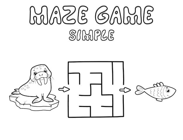 Einfaches labyrinth-puzzle-spiel für kinder. skizzieren sie ein einfaches labyrinth- oder labyrinthspiel mit walross. vektorillustrationen