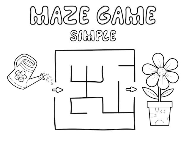 Einfaches labyrinth-puzzle-spiel für kinder. umreißen sie ein einfaches labyrinth- oder labyrinthspiel mit blume. vektorillustrationen