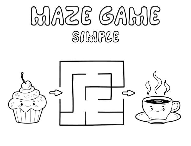Einfaches labyrinth-puzzle-spiel für kinder. umreißen sie ein einfaches labyrinth- oder labyrinthspiel mit kuchen und tee. vektorillustrationen
