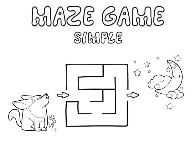 Einfaches labyrinth-puzzle-spiel für kinder. umreißen sie ein einfaches labyrinth- oder labyrinthspiel mit wolf. vektorillustrationen