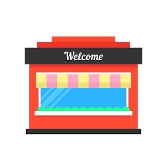 Einfaches ladenbau-symbol. konzept des marketings, der ladenfront, der markise, der stadtbausilhouette, des äußeren, der ware, des konsums. flacher stiltrend modernes logo-grafikdesign auf weißem hintergrund