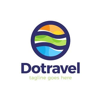 Einfaches linienlogosymbol der abstrakten punktreisebuntelemente in kreisform. logo