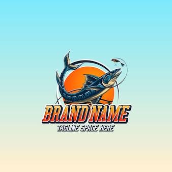 Einfaches logo, das barrakudafische fischt