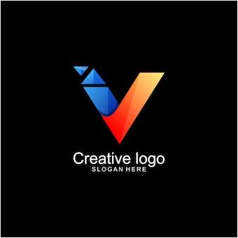 Einfaches logo des buchstaben v mit technologiedesign bunt