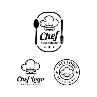 Einfaches logo-design des küchenchefs und des restaurants mit einer kappe / kochmütze
