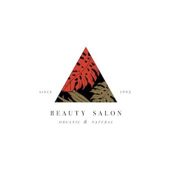 Einfaches logo. graviertes logo. tropischer schönheitssalon und organisches kosmetisches symbol. illustration.
