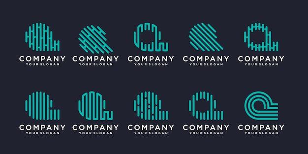 Einfaches logo-icon-set, buchstabe q kombiniertes element digital oder daten. logo-design-vorlage