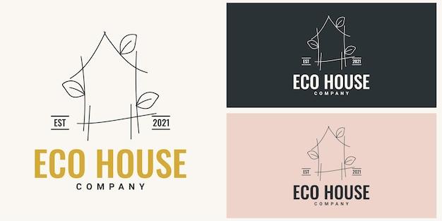 Einfaches logo-illustrationsschablonendesign des ökohauses Premium Vektoren