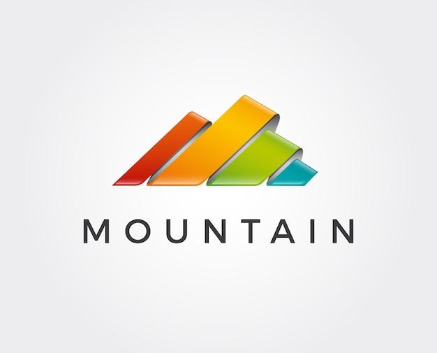 Einfaches logo in einem modernen stil. berggipfel in form des buchstabens m.