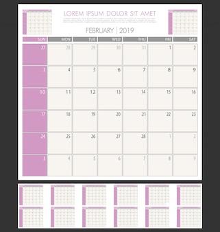 Einfaches minimales design-vorlage kalender kalender 2019 jahr