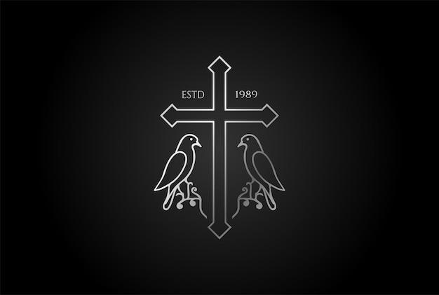 Einfaches minimalistisches christliches jesus-kreuz mit tauben-taube-linien-umriss für kirchenkapelle-logo-design-vektor