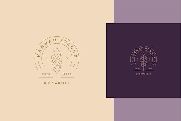 Einfaches minimalistisches lineares logo des eleganten federkiels im inneren