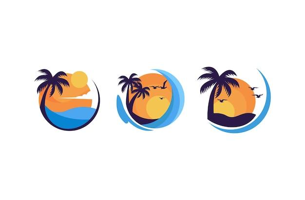 Einfaches minimalistisches sommer-sonnenuntergang-logo-design-vektor-vorlagenset
