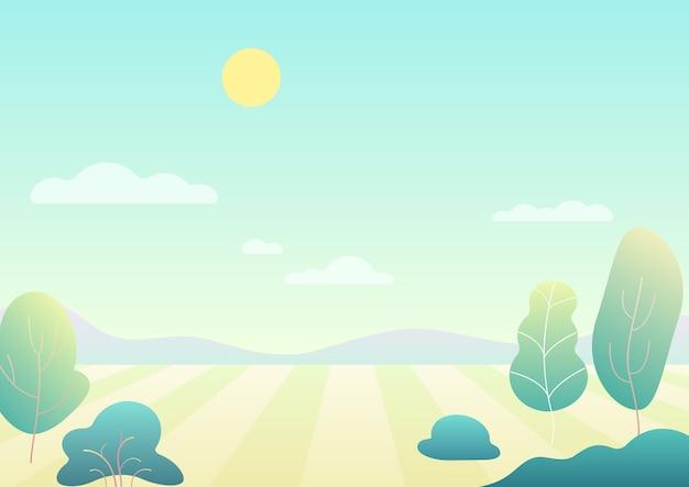 Einfaches modernes farbverlaufskarikatur-sommerfeld der fantasie mit bäumen