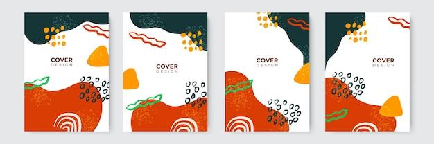 Einfaches, modernes, handgezeichnetes buchcover-design in pastell-erdton mit klecksen, flüssigkeiten, punkten, geometrischen und abstrakten formen. abstrakte moderne cover-vorlagen