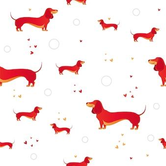 Einfaches modernes nahtloses muster mit rotem hund und und herzen.